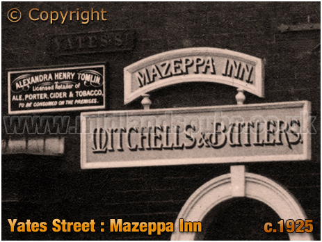 Licensee Plate of the Mazeppa Inn on Yates Street at Aston in Birmingham [c.1925]