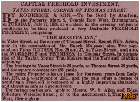 Sale Notice for the Mazeppa Inn on Yates Street at Aston in Birmingham [1886]