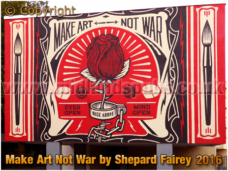 "Berlin : Mehringplatz Mural ""Make Art Not War"" by Shepard Fairey [September 2016]"