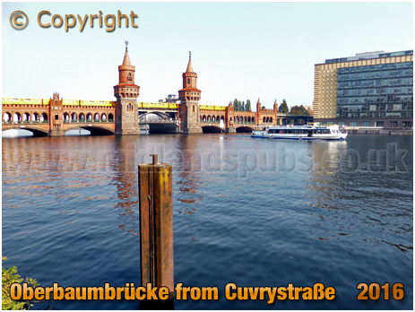 Berlin : Oberbaumbrücke from a vantage point at Cuvrystraße [September 2016]
