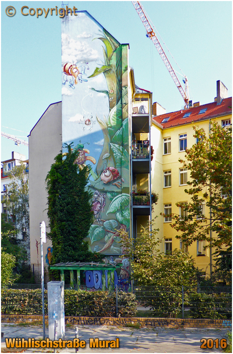 "Berlin : Mural by Christian ""Lake"" Wahle and Gino Fuchs on Wühlistraße opposite Böcklinstraße [September 2016]"
