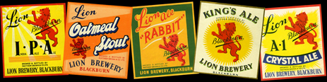 Beer Labels by Matthew Brown & Company of the Lion Brewery in Blackburn