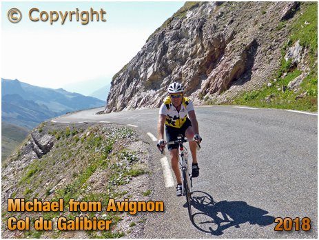 Avignon Cyclist climbing the Col du Galibier [2018]