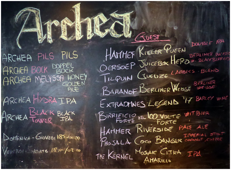 Firenze : Beer Board at the Archea Brewery Tap [2018]