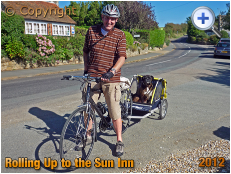 Isle of Wight : Thirsty Cyclist and Dog Rolling Up To The Sun Inn at Hulverstone [2012]