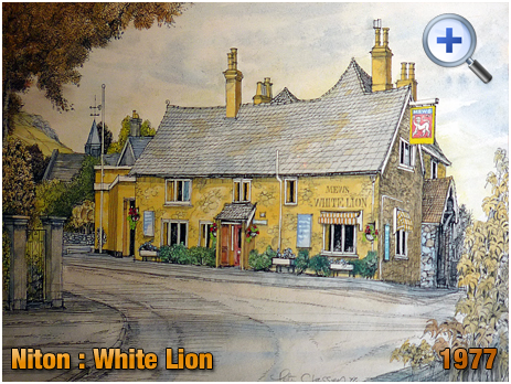 Isle of Wight : Watercolour Painting of the White Lion at Niton by Pete Classon [1977]