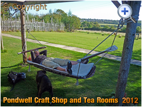 Isle of Wight : Resting from turning the pedals at Pondwell Craft Shop and Tea Rooms [2012]