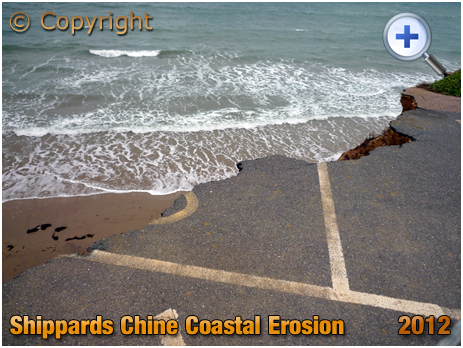 Isle of Wight : Erosion of Car Park at Shippards Chine [2012]