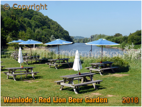 Wainlode Hill : Red Lion Beer Garden next to River Severn [2018]