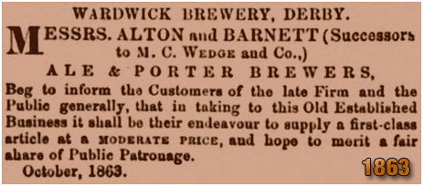 Derby : Advertisement for Messrs. Alton and Barnett of the Wardwick Brewery [1863]