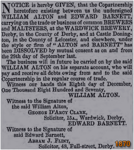 Derby : Dissolution of the partnership between William Alton and Edward Barnett of the Wardwick Brewery [1870]