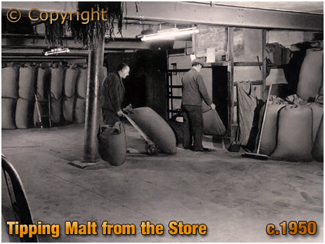 Tipping Malt from the Store at Ansell's Brewery [c.1950]