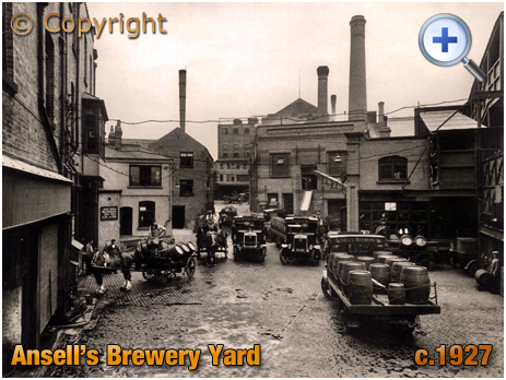 Aston : Ansell's Brewery Yard with Drays [c.1927]