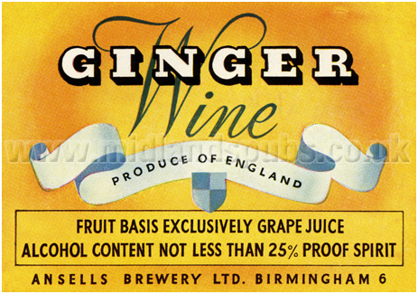 Ansell's Ginger Wine Label [c.1950s]