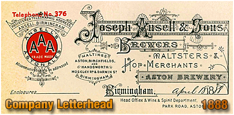 Letterhead for Joseph Ansell and Sons [1888%#93;