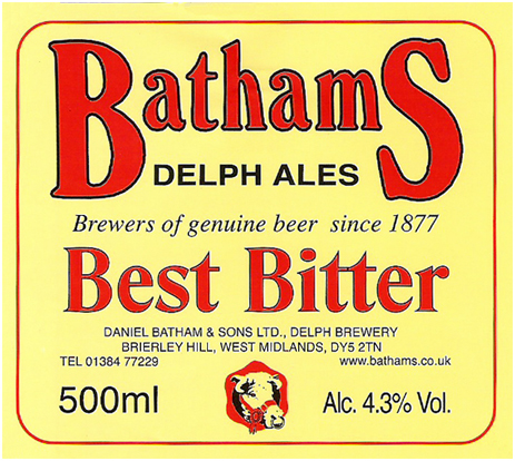 Batham's Best Bitter Beer Label [1990s]