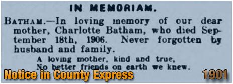 Notice of Charlotte Batham's Death [1901]