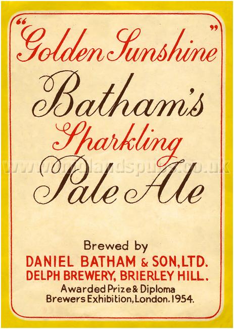 Batham's Sparkling Pale Ale Beer Label [1950s]