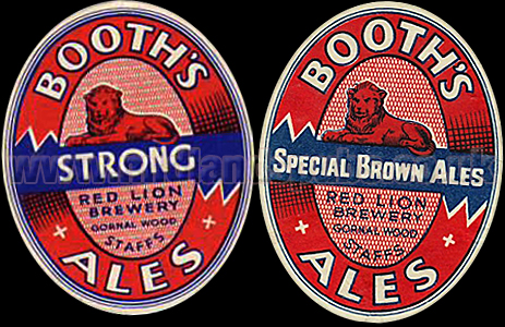 Beer Labels issued by Booth's Red Lion Brewery at Gornal Wood