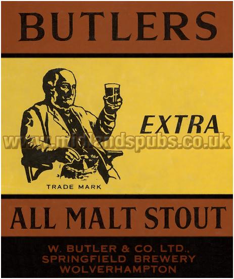 Butler's Extra All Malt Stout Dummy Beer Label [1957]