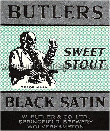 Butler's Black Satin Sweet Stout Beer Label [c.1957]