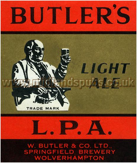Butler's L.P.A. Light Ale Beer Label [1957]