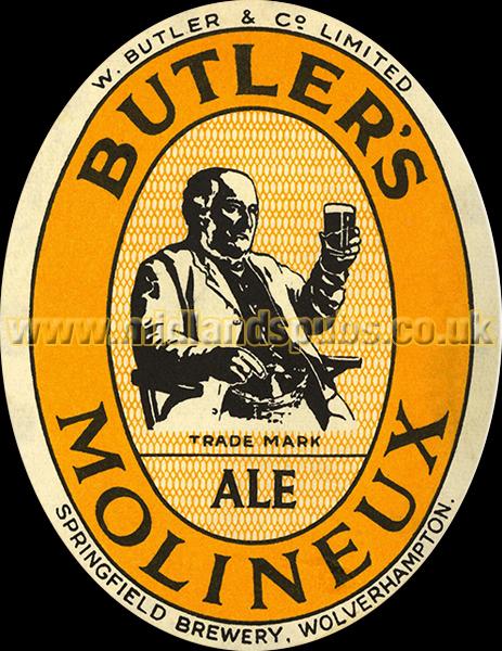 Butler's Molineux Ale Dummy Beer Label [1952]