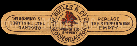 Beer Bottle Neck Strap produced at William Butler and Co. Ltd. of Springfield at Wolverhampton in Staffordshire