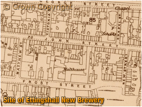 Map extract showing the Ettingshall New Brewery of William Butler at Priesfield