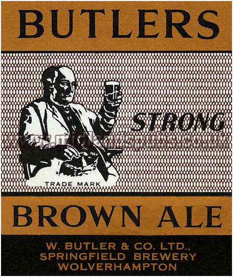 Butler's Strong Brown Ale Beer Label [1957]
