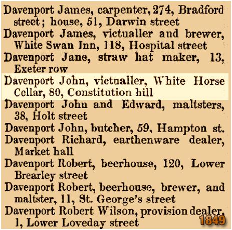 John Davenport at the White Horse Cellars on Constitution Hill in Birmingham [1849]