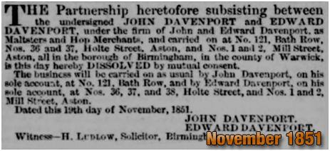 Dissolving of the partnership between John and Edward Davenport [1851]