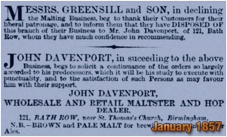 John Davenport succeeds Messrs. Greensill and Son at Bath Row in Birmingham [1857]