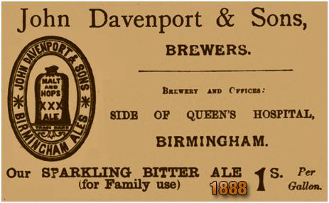 Advertisement for John Davenport and Sons [1888]