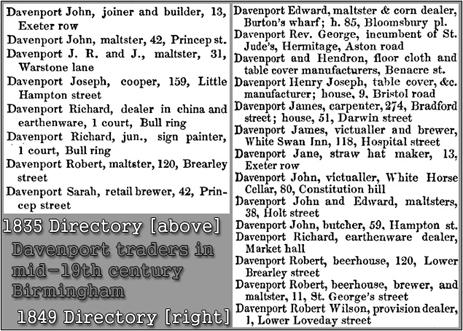 Davenport traders in mid-19th century Trade Directories of Birmingham