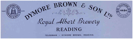 Letterhead of Dymore Brown and Son Limited of the Royal Albert Brewery in Reading