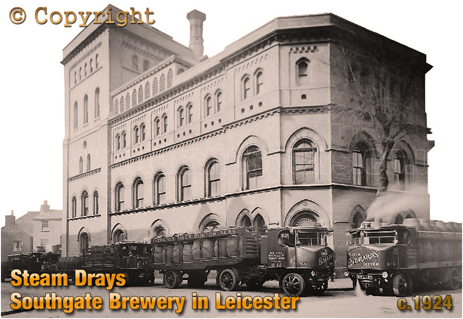 Steam Drays at Everard's Southgate Brewery in Leicester [c.1924]