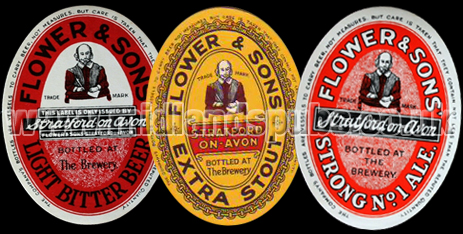 Beers Labels issued by Flower and Sons Limited of Stratford-on-Avon in Warwickshire