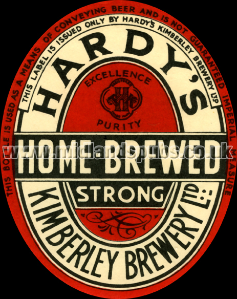 Hardy's Kimberley Brewery Limited : Home-Brewed Strong Beer Label