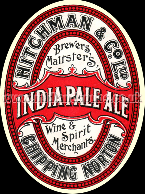 Hitchman's Brewery India Pale Ale Beer Label from Chipping Norton in Oxfordshire [1930s]