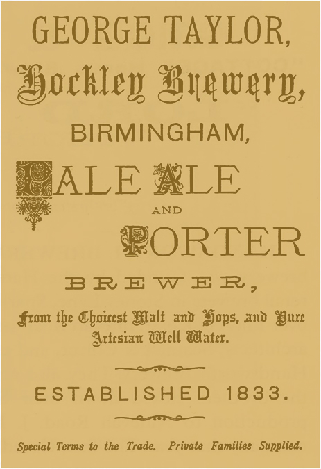 Advertisement for the Hockley Brewery owned by George Taylor