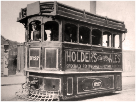 Birmingham : Advertisement for Holder's Ales on Tram [c.1900]