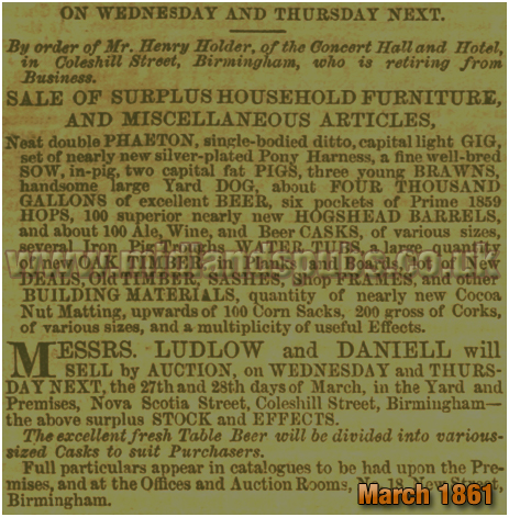 Birmingham : Sale of Surplus Furniture, Beer and Brewing Equipment at the Rodney Inn and Concert Hall in Coleshill Street [1861]