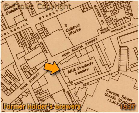 Birmingham : Map showing the re- of Holder's Midland Brewery in Nova Scotia Street [1937]