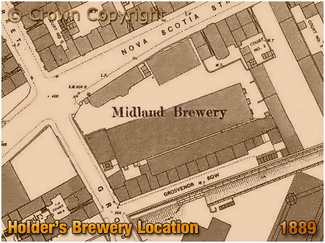 Birmingham : Map showing the location of Holder's Midland Brewery in Nova Scotia Street [1889]
