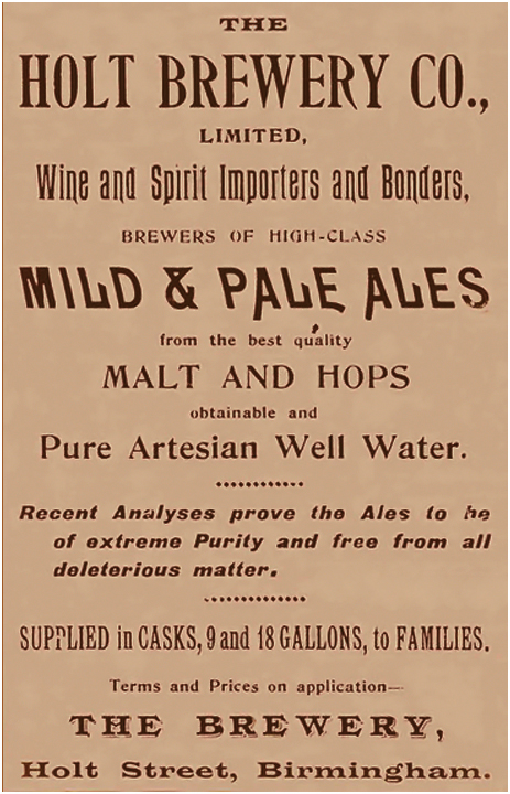 Advertisement for the Holt Brewery Company