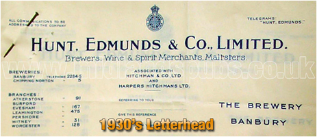 Letterhead of Hunt Edmunds and Co. Ltd. of Banbury [1938]