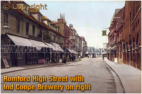 Romford :s High Street and Ind Coope Brewery [c.1906]