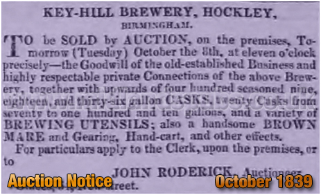 Auction Notice for the Key Hill Brewery [1839]