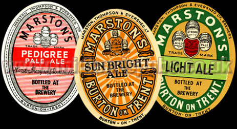 Beer Labels issued by Marston's of Shobnall near Burton-on-Trent